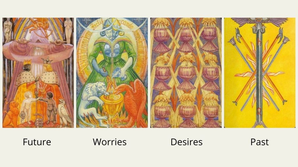 Will he come back? Top tarot cards - 5 of Wands, 9 of Cups, Art and The Lovers